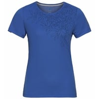 Women's F-DRY T-Shirt, amparo blue - leaf print SS20, large