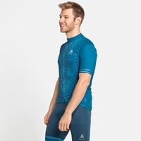 ZEROWEIGHT CERAMICOOL-fietsshirt met volledige rits en korte mouwen voor heren, mykonos blue - graphic SS21, large