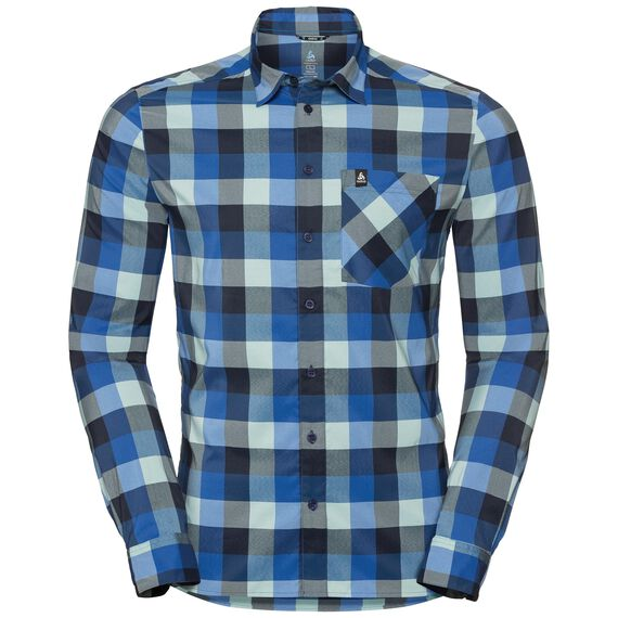 Shirt l/s NIKKO CHECK, energy blue - diving navy - nile blue - check, large