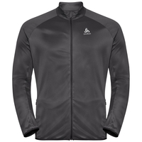 Men's FLI CERAMIWARM Full-Zip Midlayer Top, black - odlo graphite grey - stripes, large