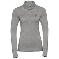 Damen NATURAL 100% MERINO WARM Funktionsunterwäsche Langarm-Shirt mit Stehkragen, grey melange - grey melange, large