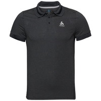 Men's NIKKO DRY Polo Shirt, black - odlo steel grey - stripes, large
