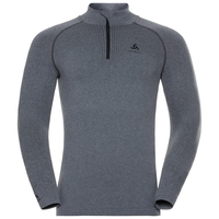 Men's PERFORMANCE WARM 1/2 Zip Turtle-Neck Long-Sleeve Base Layer Top, grey melange - black, large