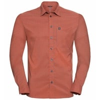 Men's NIKKO CHECK Long-Sleeve Shirt, mandarin red - china blue - check, large