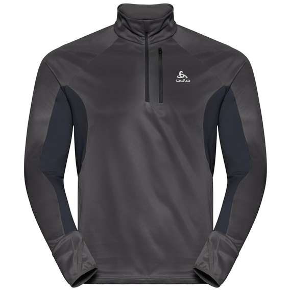 Men's BLAZE Zeroweight 1/2 Zip Midlayer, black - odlo graphite grey - stripes, large