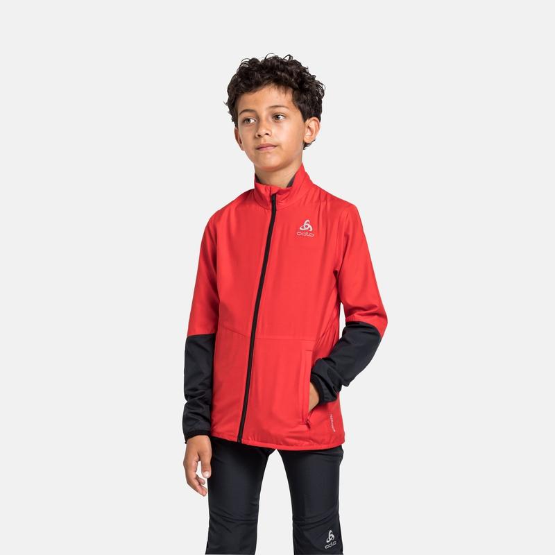 The Finnfjord Junior jacket, poppy red - black, large