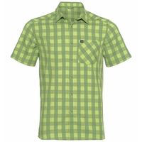 Men's MYTHEN Short-Sleeve Shirt, green glow - green eyes - check, large