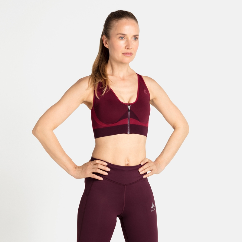 Women's SEAMLESS HIGH Sports Bra, winetasting, large