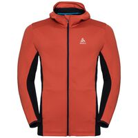 Hoody midlayer full zip SAIKAI, fiery red - diving navy, large