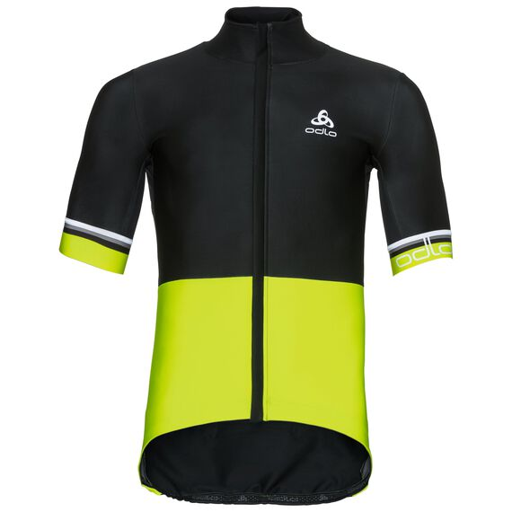 VLAANDEREN Stand-up collar s/s full zip, black - safety yellow, large