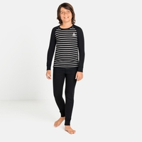 ACTIVE WARM ECO KIDS Baselayer Set, black - grey melange - stripes FW19, large