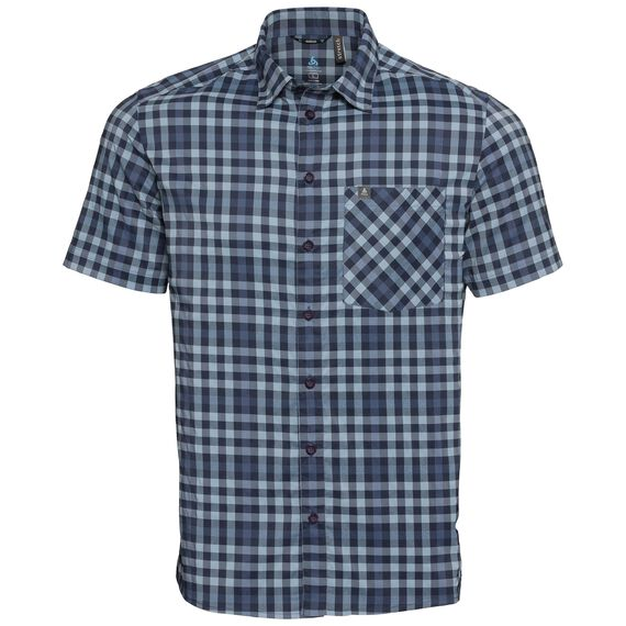 Shirt NIKKO CHECK, faded denim - blue indigo - diving navy - check, large