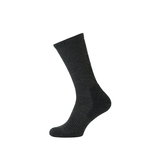 Socks long Natural+ Warm, black - odlo graphite grey melange, large