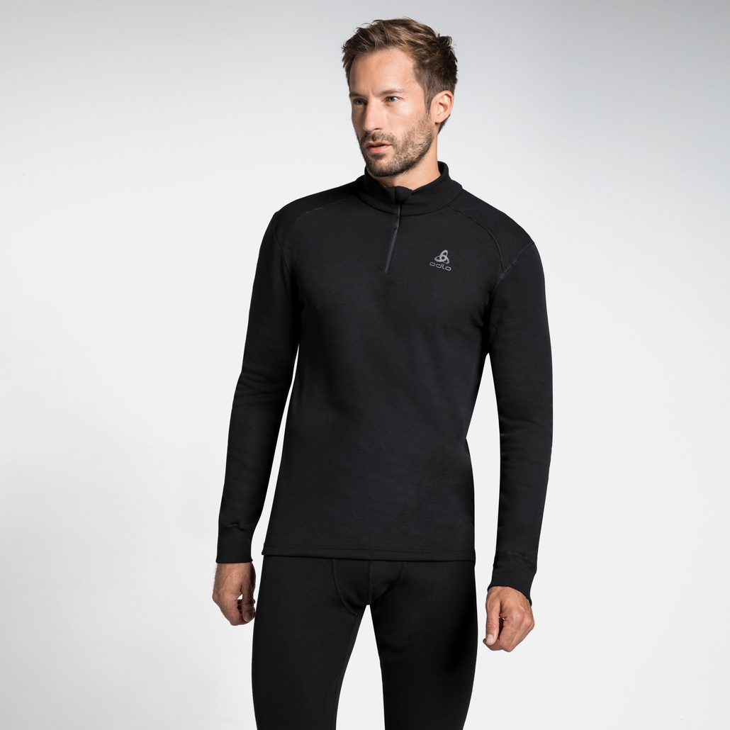 Men's ACTIVE WARM 1/2 Zip Turtle-Neck Long-Sleeve Base Layer Top, black, large