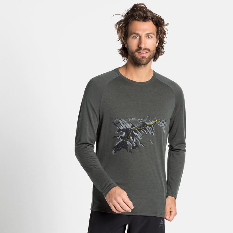 Men's ALLIANCE Long-Sleeve Top, climbing ivy - mountain print, large