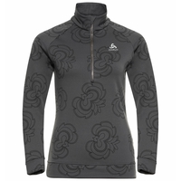 Women's BIRDY CERAMIWARM 1/2 Zip Midlayer, odlo graphite grey - AOP FW19, large