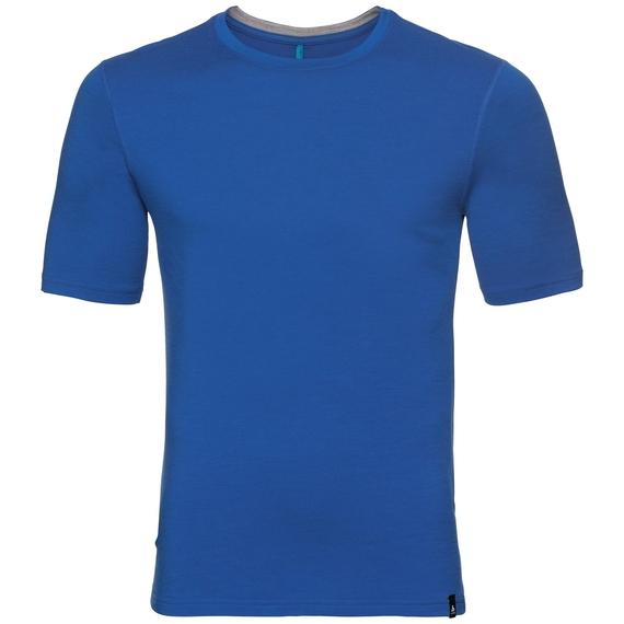 HAUT BL col ras du cou et manches courtes NIKKO 100% MERINO PRINT, energy blue with fading stripes print, large