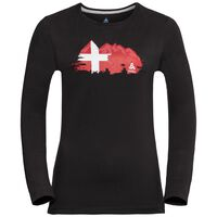 Shirt l/s crew neck CITY PROGRAM, black - SWISS flag, large