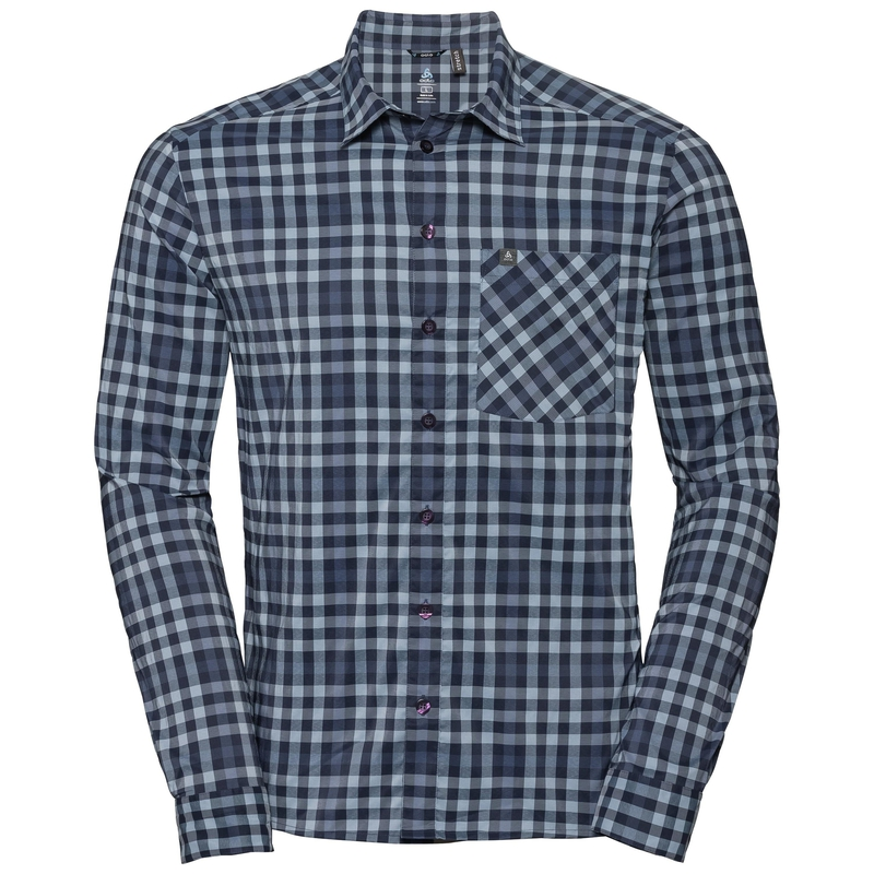 Men's NIKKO CHECK Long-Sleeve Shirt, faded denim - blue indigo - diving navy - check, large
