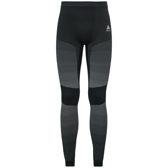 Pants ESSENTIALS seamless WARM - boxed, black - odlo concrete grey, large