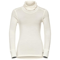Natural 100 Merino Warm baselayer shirt turtle neck women, snow white, large