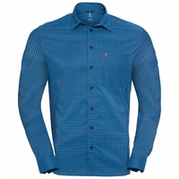 Camicia a manica lunga Nikko Check da uomo, blue aster - diving navy - check, large