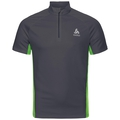 Stand-up collar s/s 1/2 zip CHIP LO, ebony grey - macaw green, large