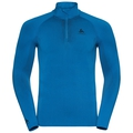 Men's PERFORMANCE WARM 1/2 Zip Turtle-Neck Long-Sleeve Base Layer Top, directoire blue - black, large