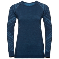 Damen NATURAL + KINSHIP WARM Funktionsunterwäsche Langarm-Shirt, blue wing teal melange, large