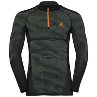 Men's BLACKCOMB 1/2 Zip Turtle-Neck Long-Sleeve Base Layer Top, climbing ivy - black - orange clown fish, large