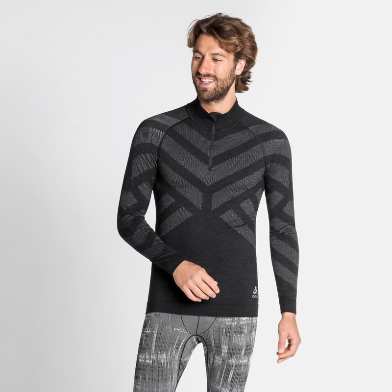 Men's NATURAL + KINSHIP WARM Half-Zip Turtleneck Base Layer Top, black melange, large