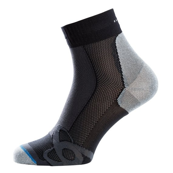 LIGHT Quarter Socks, black - grey melange, large