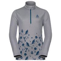 CARVE KIDS LIGHT Midlayer mit halblangem Reißverschluss, odlo concrete grey melange - placed print FW18, large