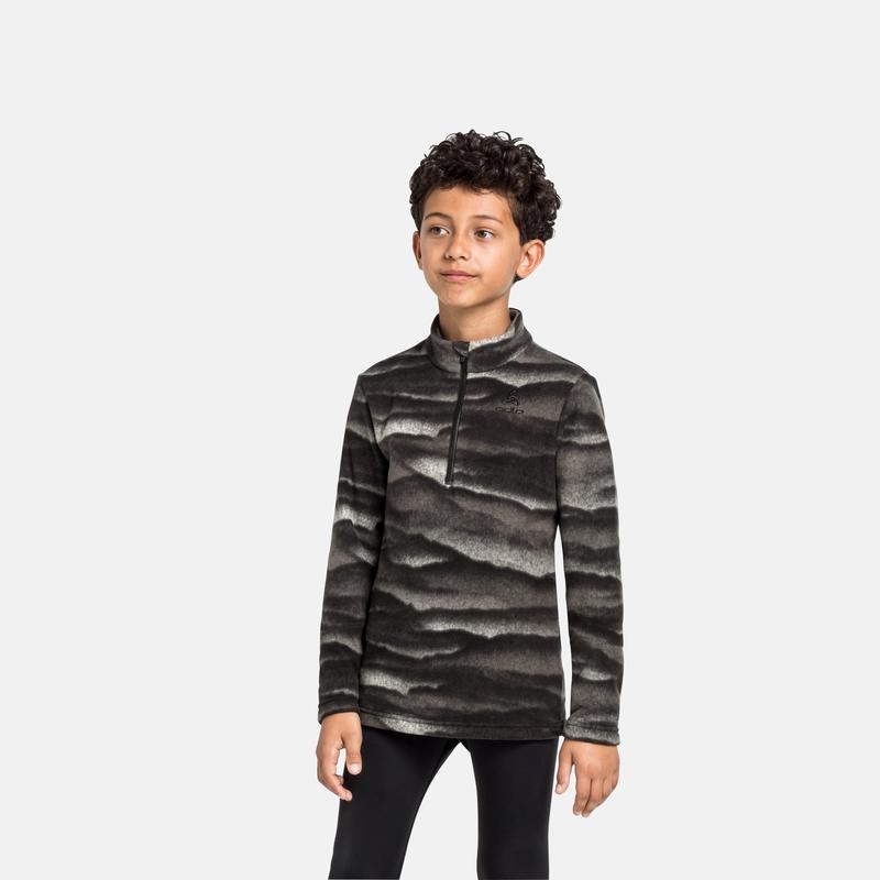 The Roy kids graphic mid layer half zip, black, large