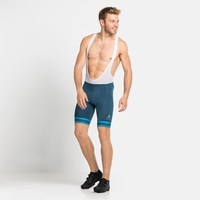 Men's ZEROWEIGHT Cycling Shorts with Suspenders, mykonos blue melange - white, large