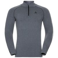 Naadloze onderkleding Top met col en 1/2 rits l/m PERFORMANCE WARM, grey melange - black, large