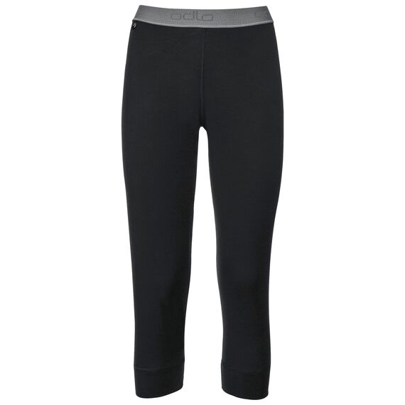 Natural 100 Merino Warm baselayer pants 3/4 women, black, large