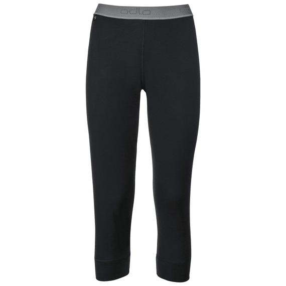 Natural 100 Merino Warm baselayer pants 3/4 women, black, large