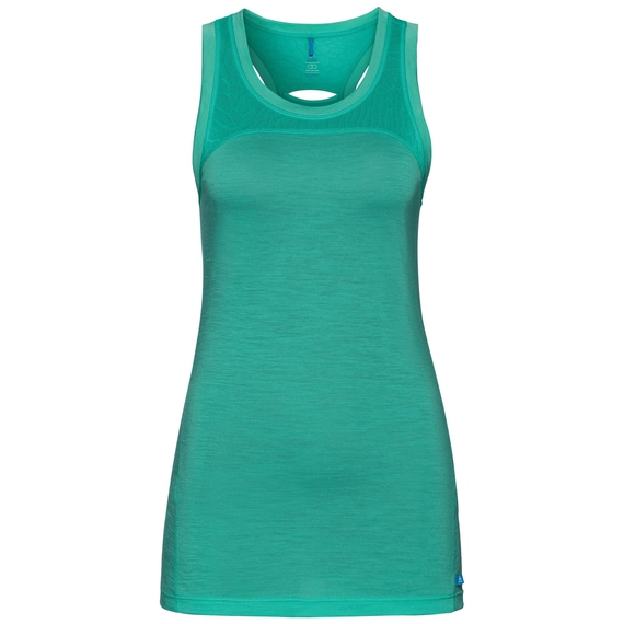 SUW TOP Crew neck Singlet NATURAL + CERAMIWOOL LIGHT, pool green, large