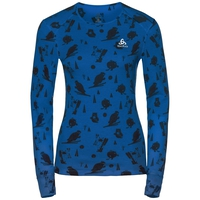 Naadloze onderkleding top met Ronde hals l/m active originals Warm GOD JUL PRINT, energy blue - diving navy - AOP FW18, large