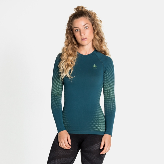 Women's PERFORMANCE WARM ECO Long-Sleeve Baselayer, submerged - tomatillo, large