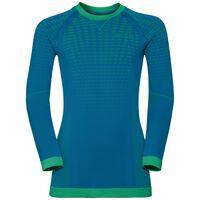 EVOLUTION WARM KIDS baselayer shirt, mykonos blue - classic green, large