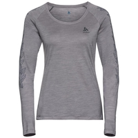 Women's CONCORD Long-Sleeve T-Shirt, grey melange - leaves on sleeve print SS19, large