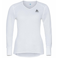 Damen ACTIVE WARM ECO Baselayer-Oberteil mit V-Ausschnitt, white, large