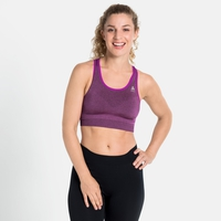 Women's SEAMLESS MEDIUM CERAMICOOL Sports Bra, purple cactus flower melange, large