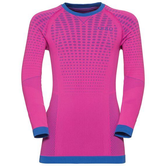 EVOLUTION WARM KIDS baselayer shirt, pink glo - lapis blue, large