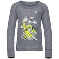 ACTIVE WARM TREND KIDS (SMALL) Long-Sleeve Base Layer Top, grey melange - placed print FW19, large