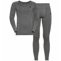 Men's WINTER SPECIALS PERFORMANCE EVOLUTION WARM Baselayer Set, odlo steel grey - odlo graphite grey, large
