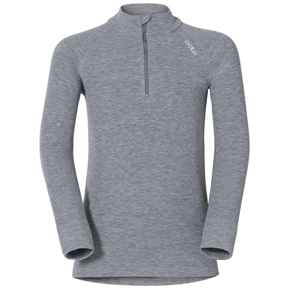 ACTIVE WARM KIDS 1/2 Zip Turtle-Neck Base Layer Top, grey melange, large