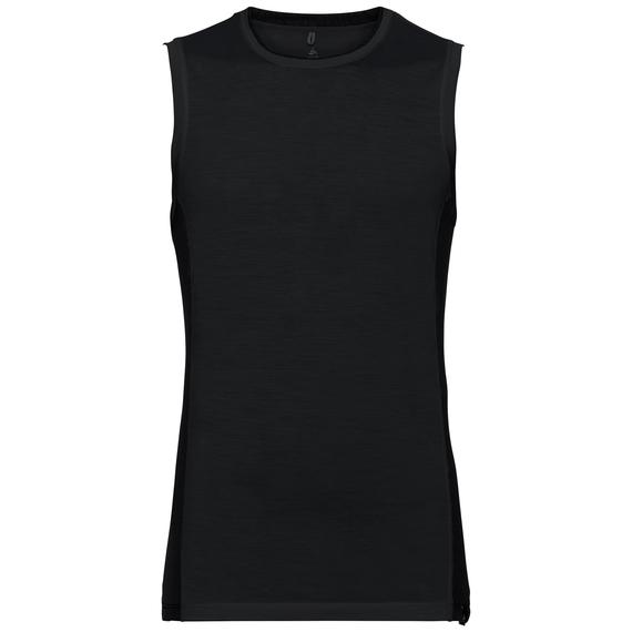 SUW TOP NATURAL + CERAMIWOOL LIGHT Unterhemd mit Rundhalsausschnitt, black, large